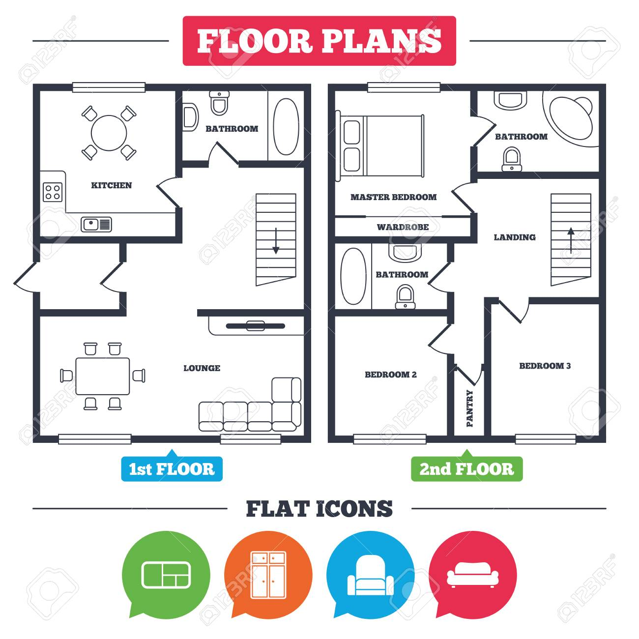 floor plan furniture symbols bedroom. Architecture Plan With Furniture. House Floor Plan. Furniture Icons. Sofa, Cupboard, Symbols Bedroom R