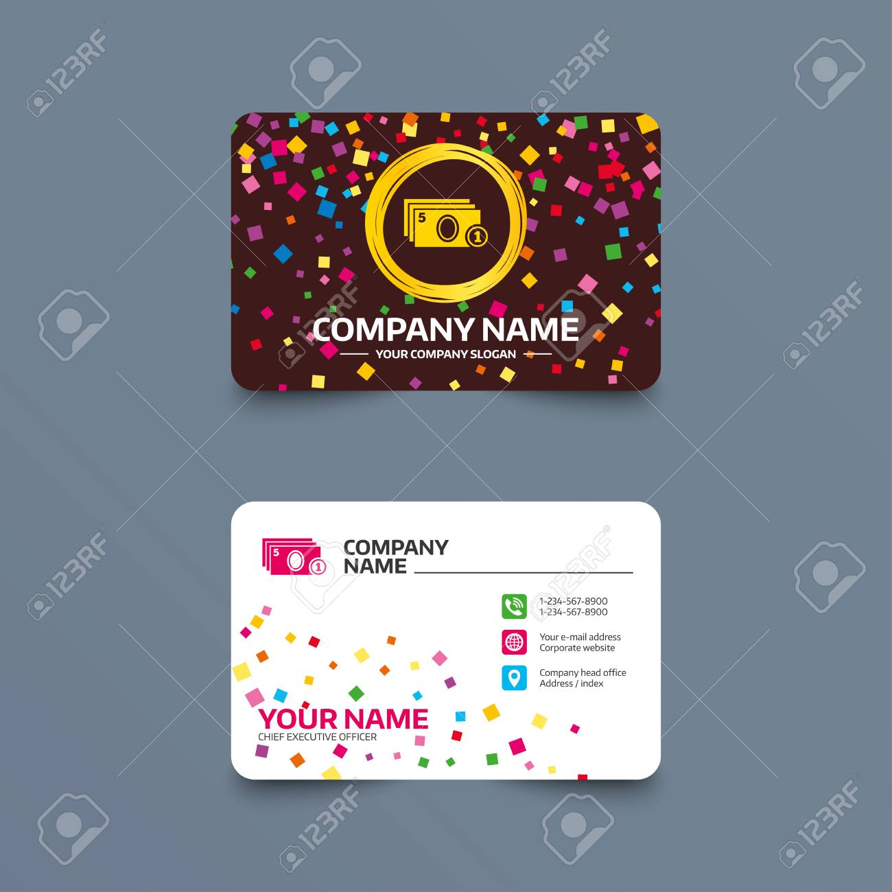 Business Card Template With Confetti Pieces. Cash And Coin Sign ...