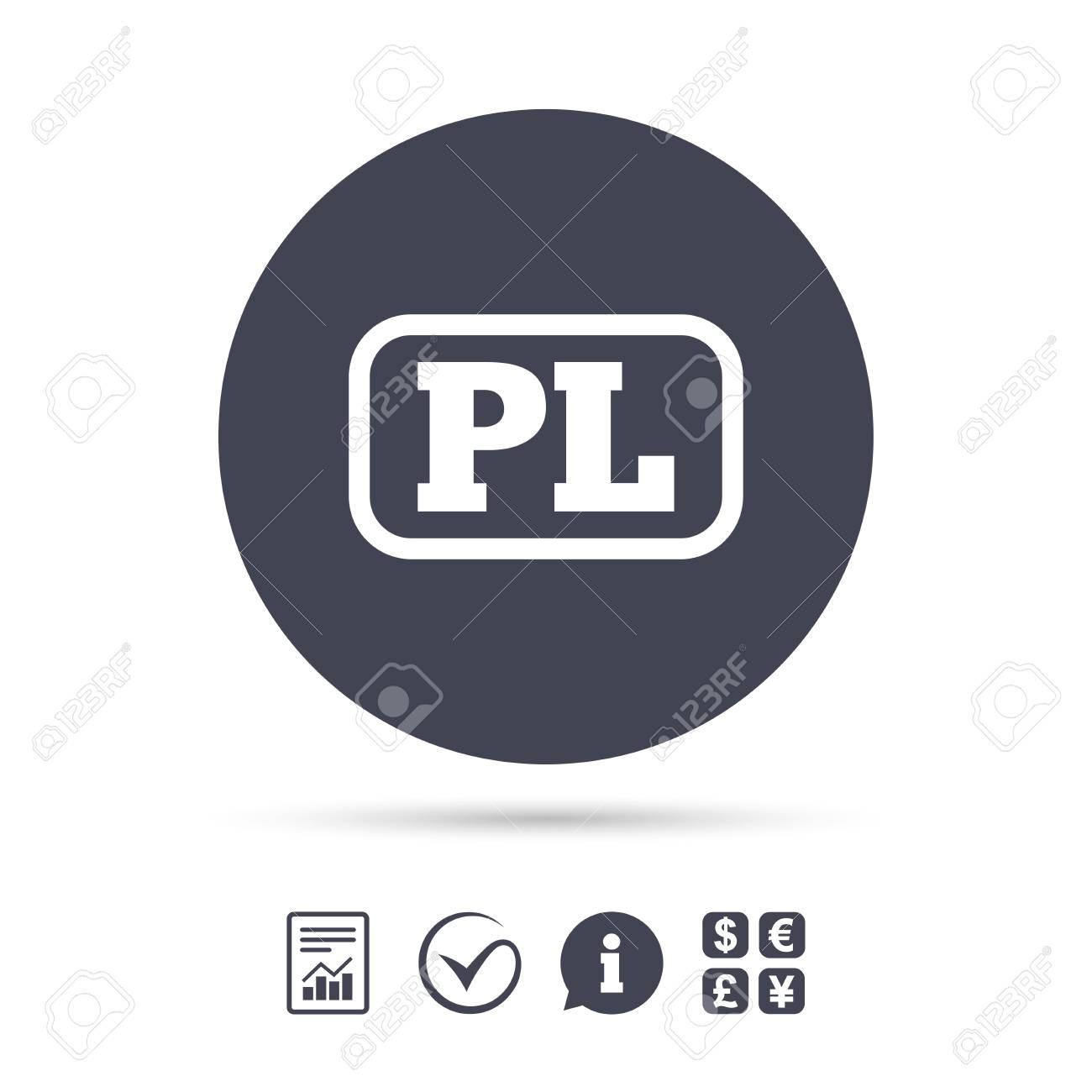 Polish Language Sign Icon Pl Translation Symbol With Frame