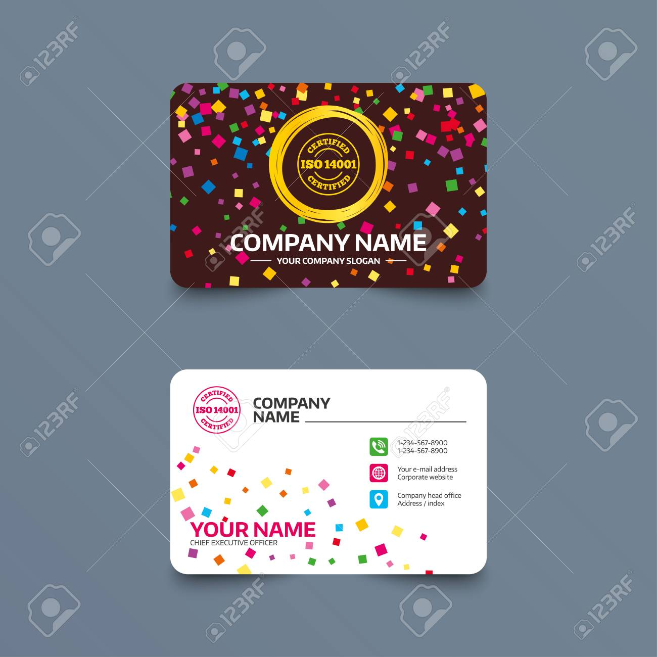 Business Card Template With Confetti Pieces. ISO 14001 Certified ...