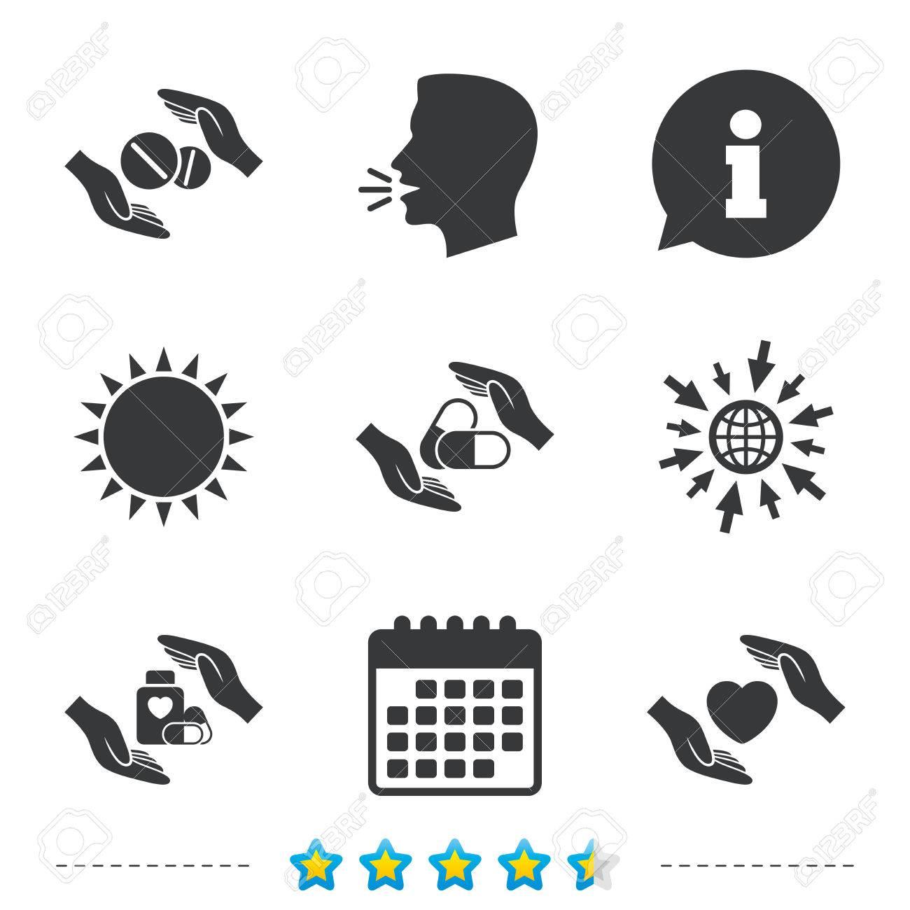 Hands Insurance Icons Health Medical Insurance Symbols Pills