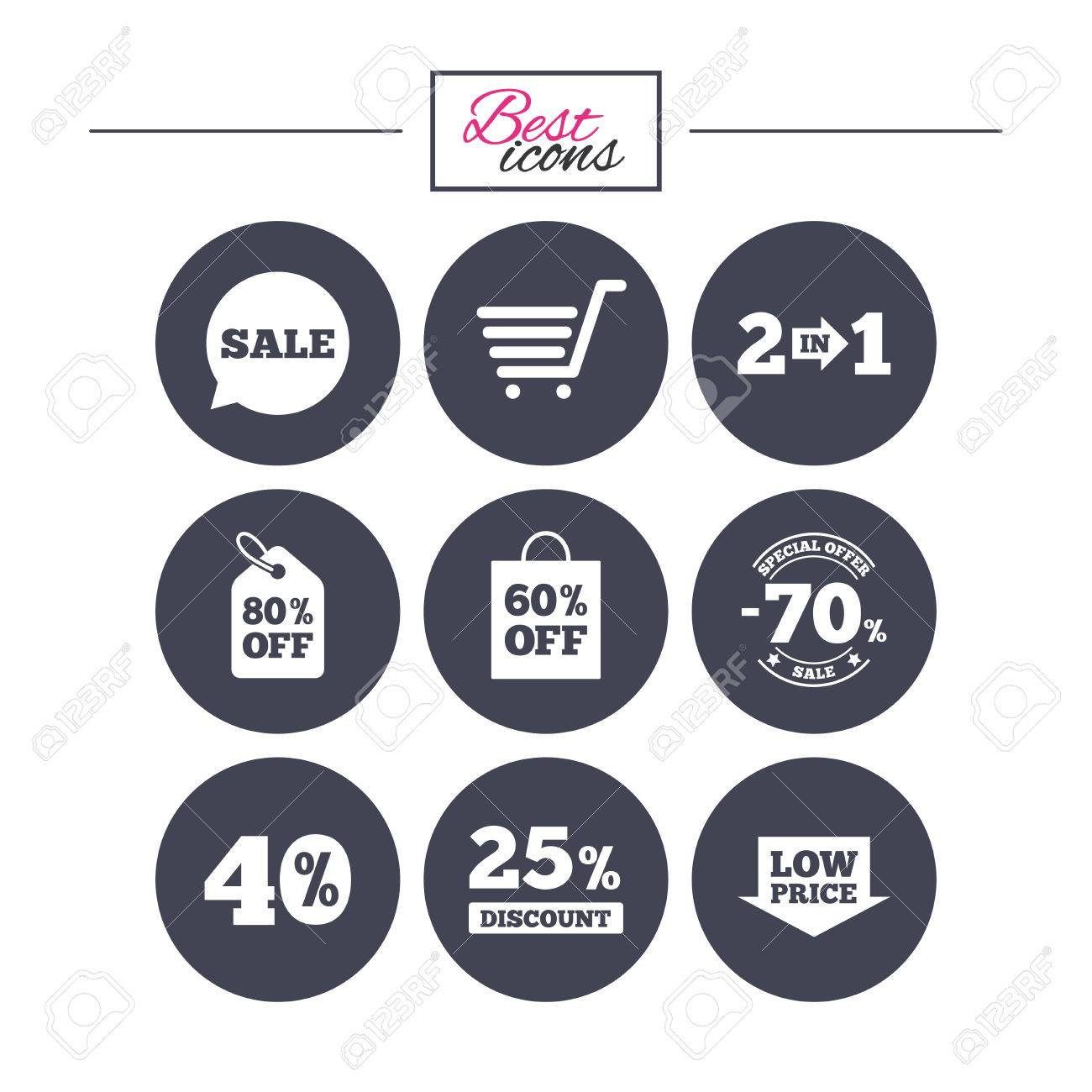 Sale Discounts Icon. Shopping Cart, Coupon And Low Price Signs ...