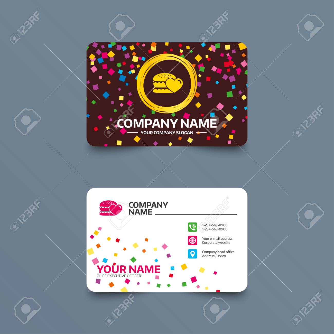 Business card template with confetti pieces hamburger icon business card template with confetti pieces hamburger icon burger food symbol cheeseburger sandwich flashek Gallery