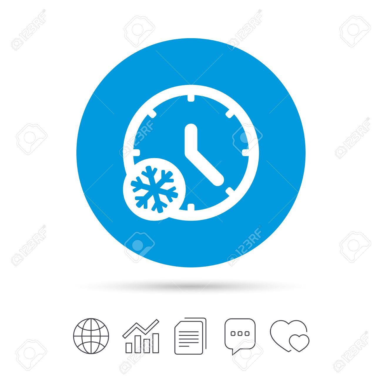 Winter Time Icon Snowy Cold Day Sign Daylight Saving Time With
