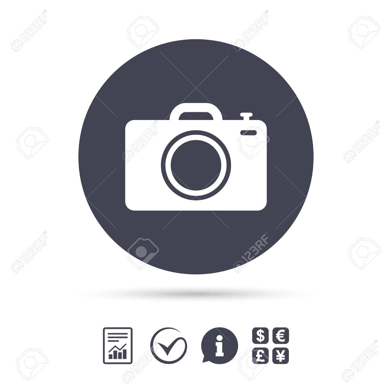 Photo Camera Sign Icon Digital Photo Camera Symbol Report Document