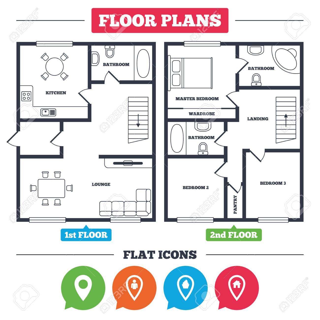 Architecture Plan With Furniture. House Floor Plan. Map Pointer Icons. Home,  Food