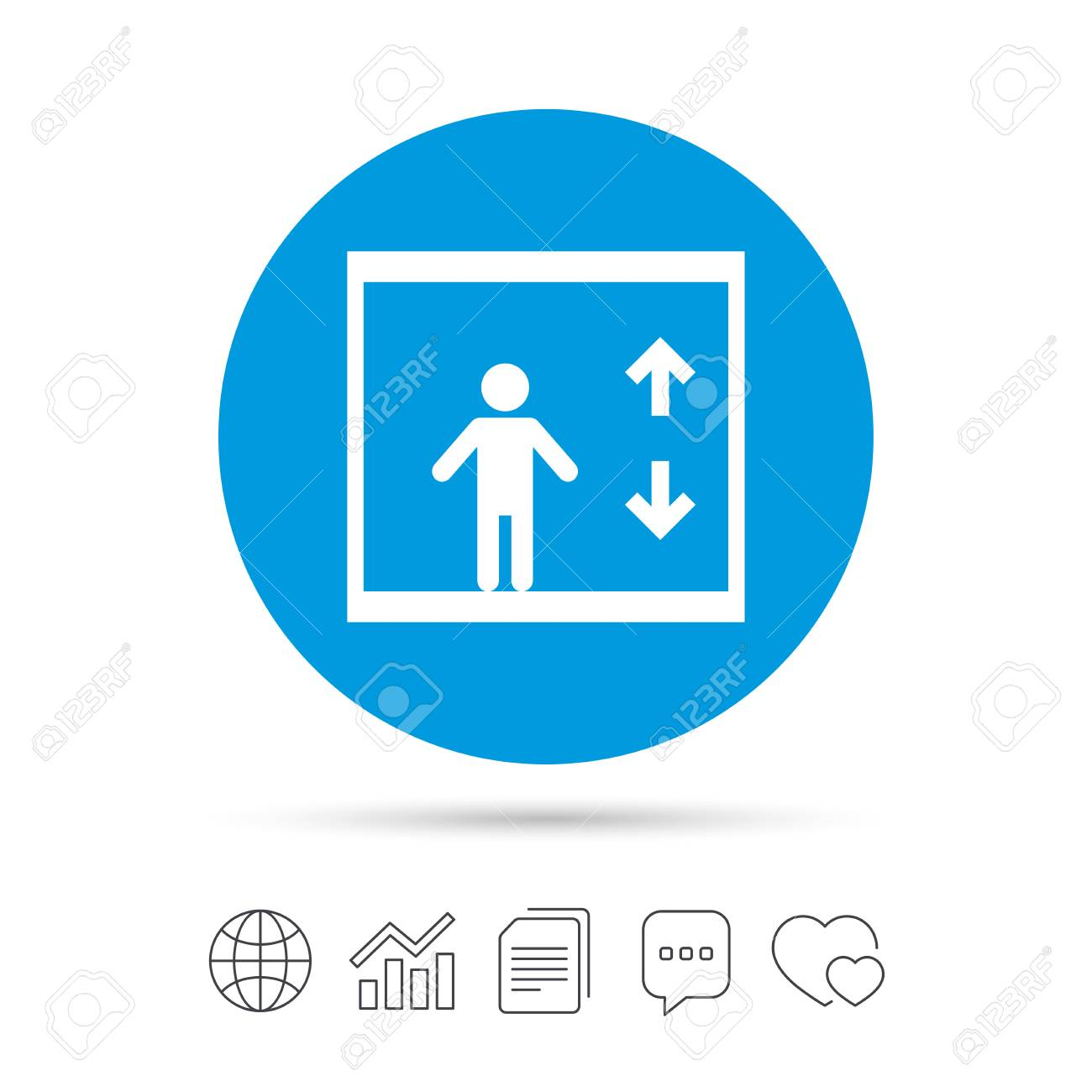 elevator sign icon person symbol with up and down arrows royalty