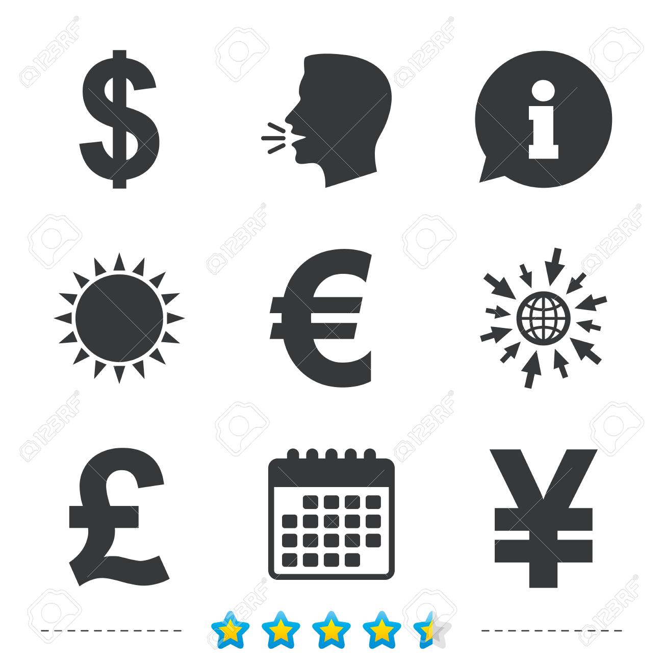 Dollar Euro Pound And Yen Currency Icons Usd Eur Gbp And