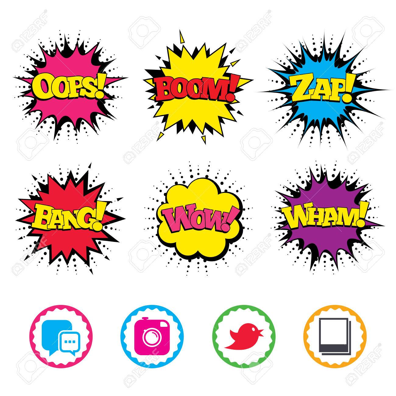 Comic Wow, Oops, Boom and Wham sound effects  Social media icons