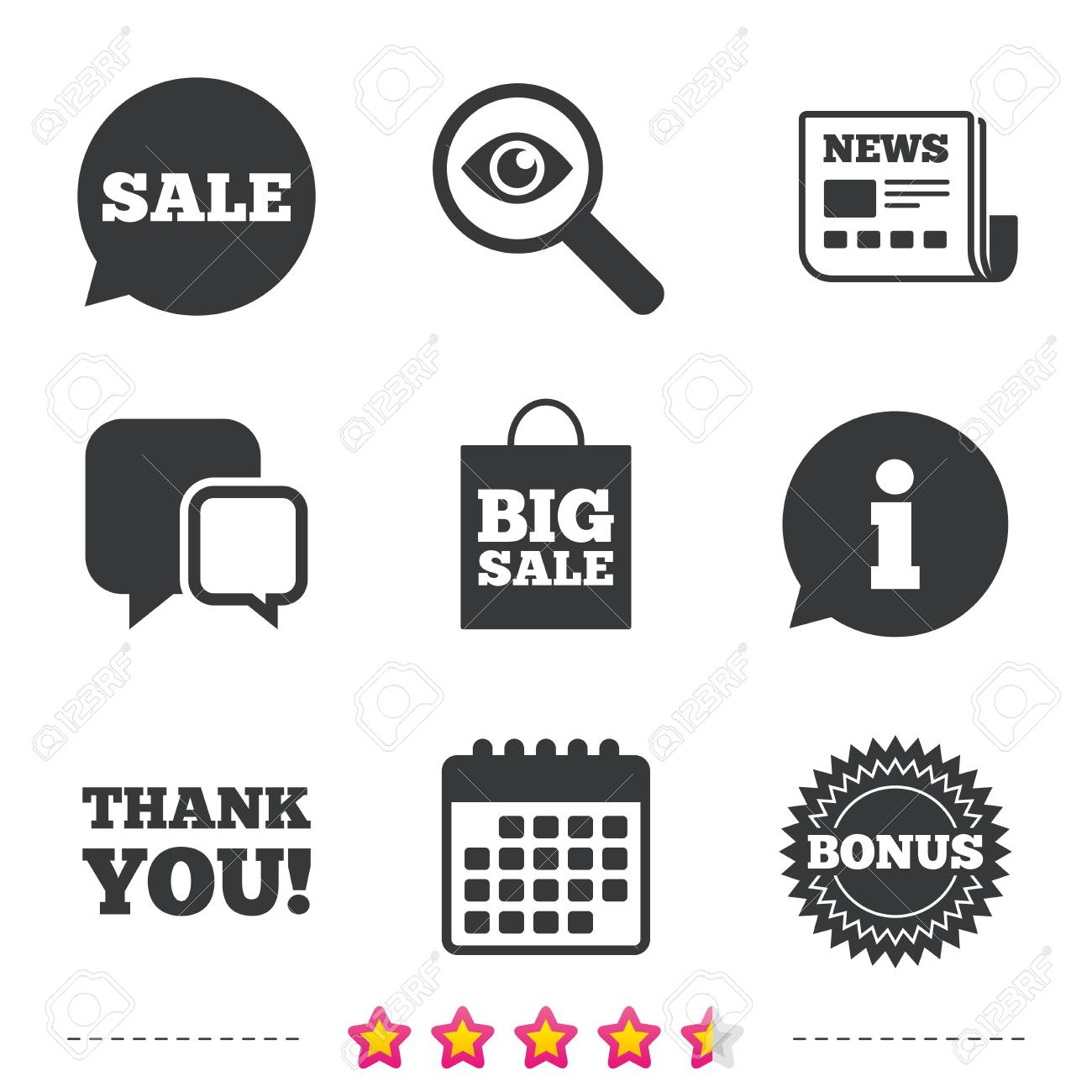 Sale Speech Bubble Icon Thank You Symbol Bonus Star Circle