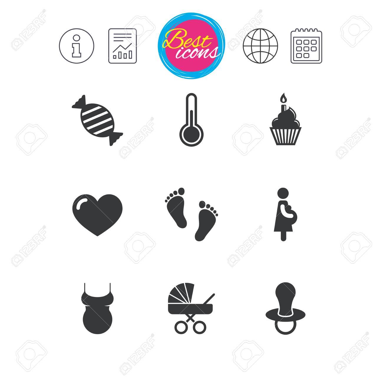 Calendario Maternita.Informazioni Segnalazioni E Segni Del Calendario Icone Di Gravidanza Maternita E Cura Del Bambino Caramelle Carrozzina E Segni Di Ciuccio