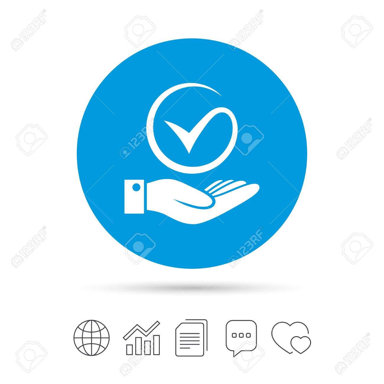 Tick And Hand Sign Icon Palm Holds Check Mark Symbol Copy Files