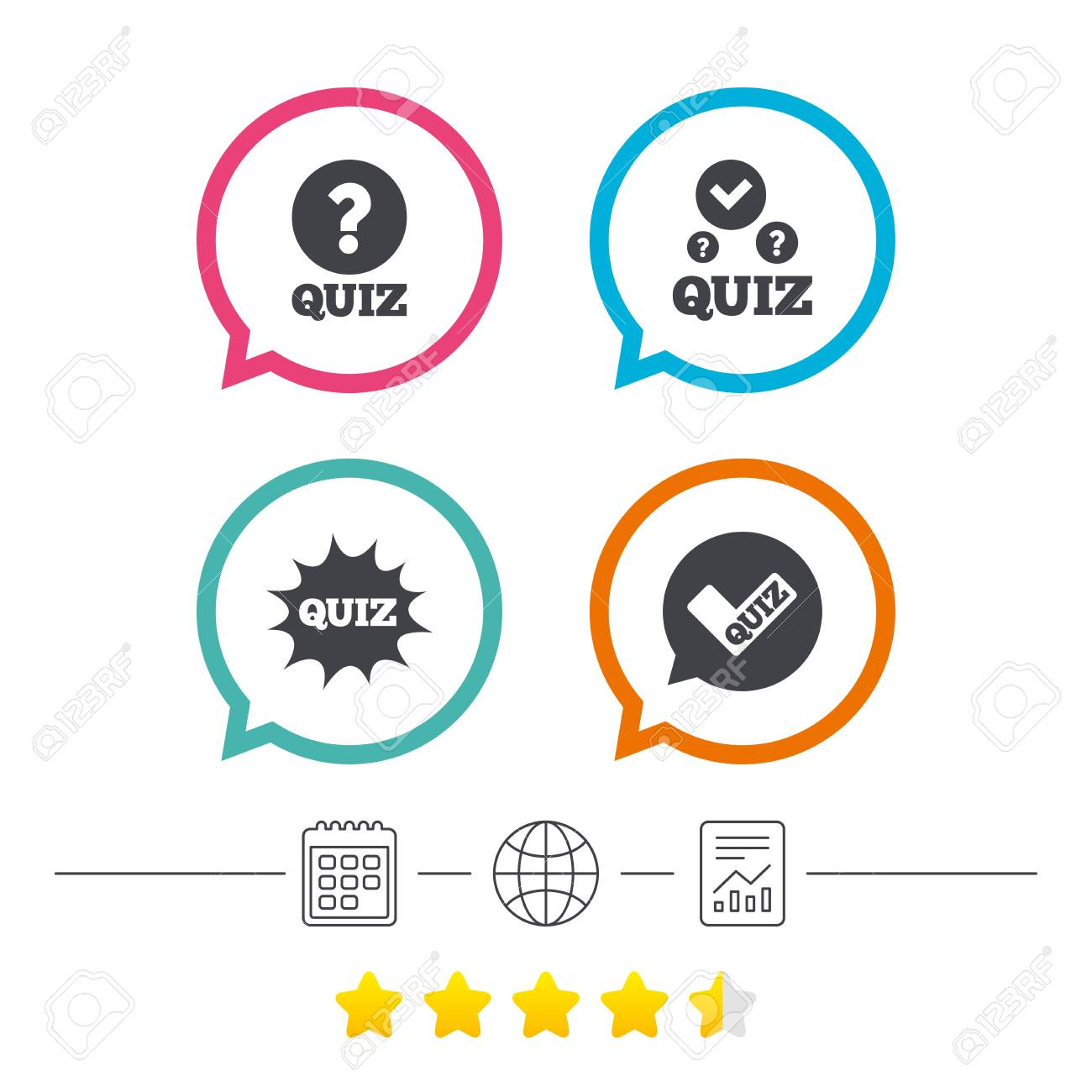 Quiz icons speech bubble with check mark symbol explosion boom speech bubble with check mark symbol explosion boom sign calendar buycottarizona