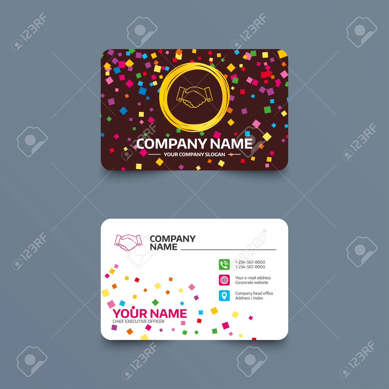 Business Card Template With Confetti Pieces Handshake Sign Icon