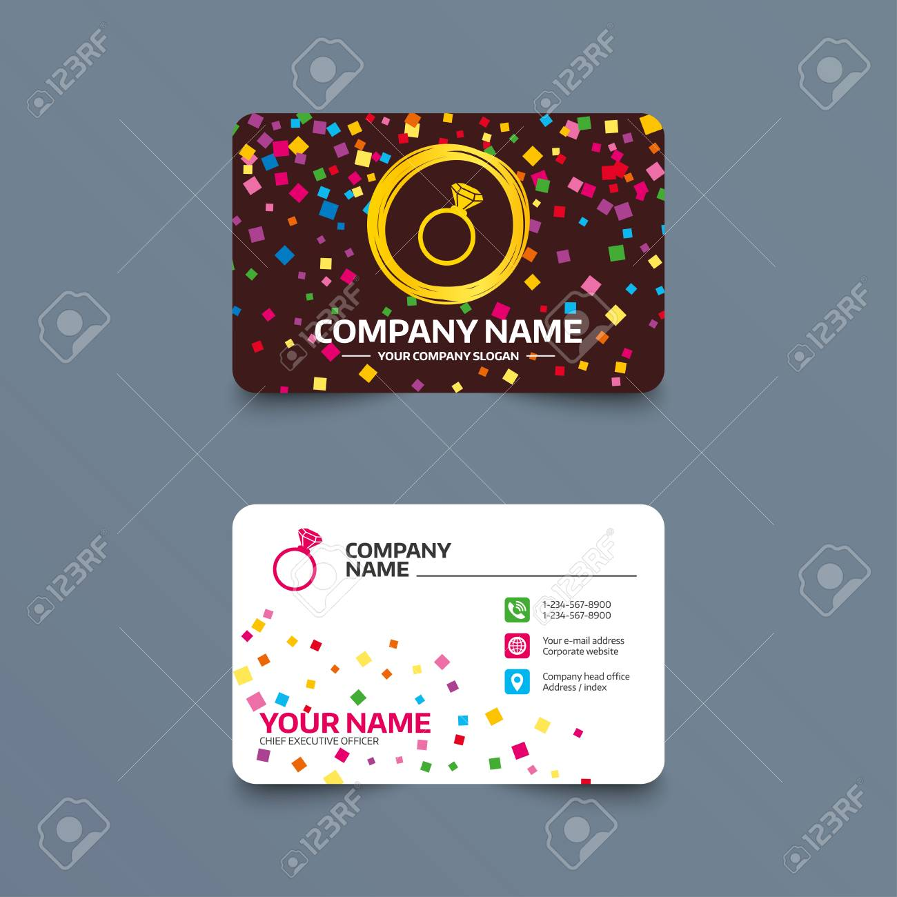 Business card template with confetti pieces ring sign icon business card template with confetti pieces ring sign icon jewelry with diamond symbol flashek Choice Image
