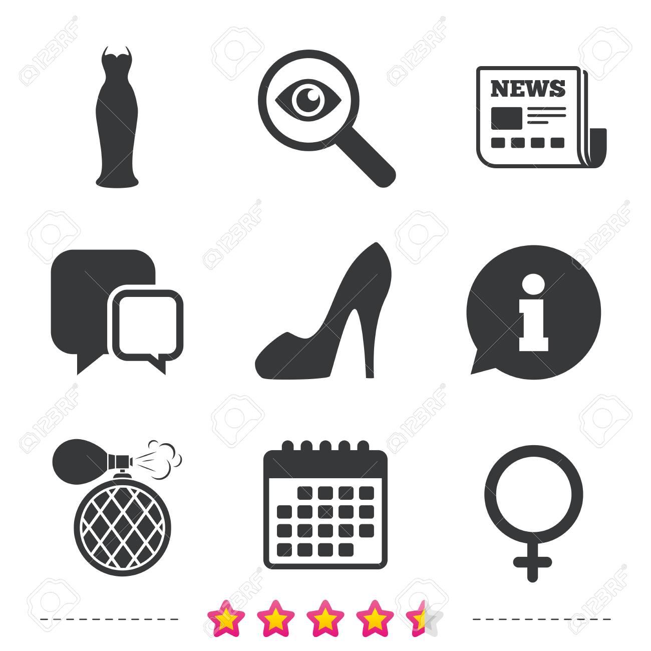 Hochzeitskleid-Symbol. Frauen Schuh Zeichen. Parfüm-Glamour-Duft ...