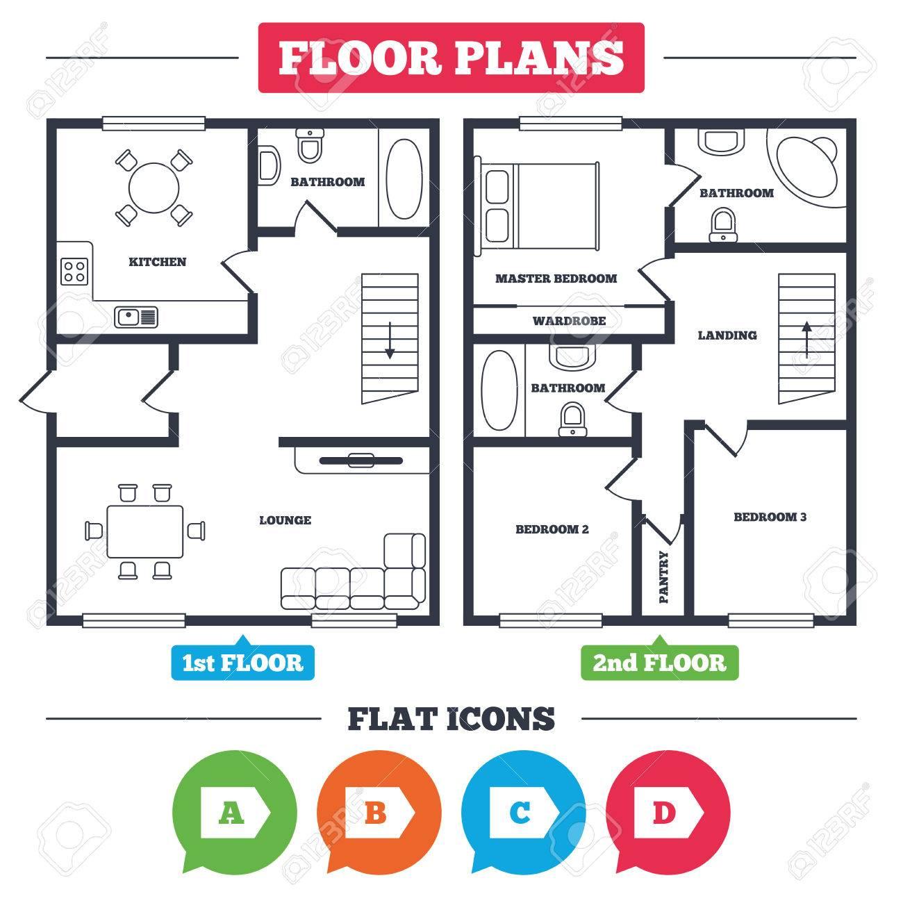 Plan De Arquitectura Con Muebles. Planta De La Casa. Iconos De Clase ...