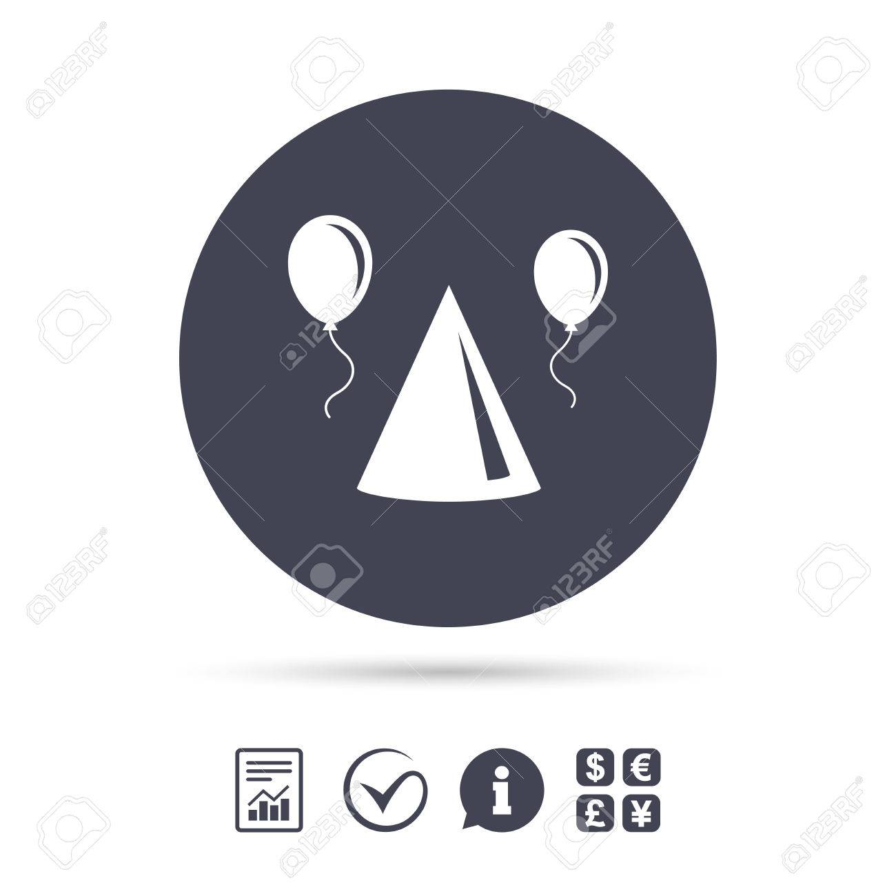 Party Hat Sign Icon Birthday Celebration Symbol Air Balloon With