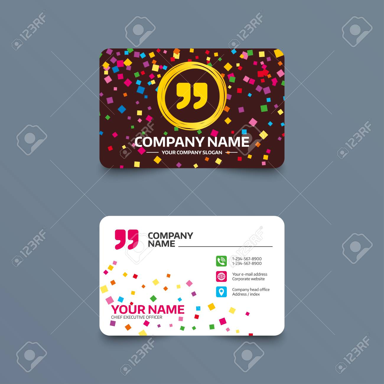 Business card template with confetti pieces quote sign icon business card template with confetti pieces quote sign icon quotation mark symbol double reheart Images