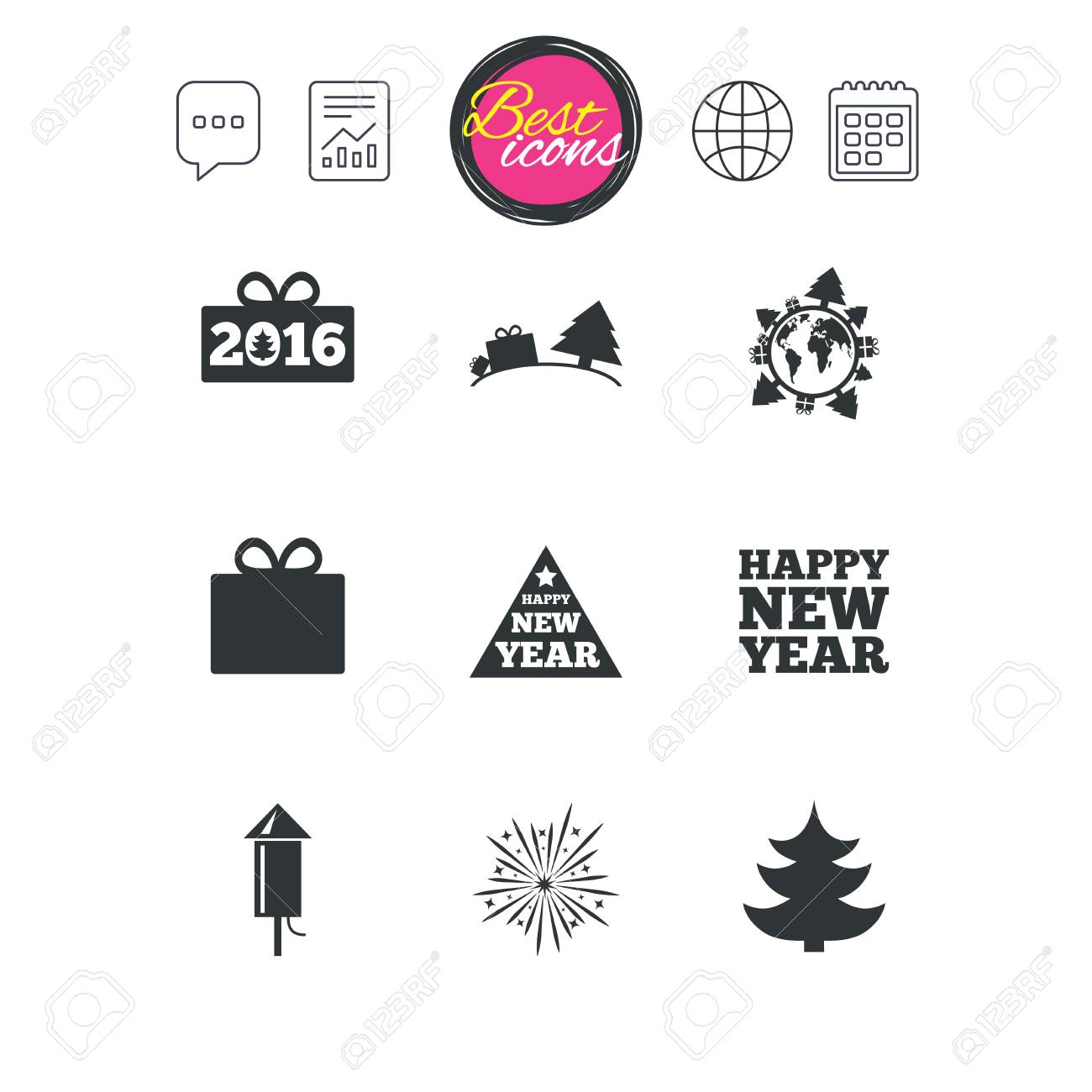 Chat Speech Bubble, Report And Calendar Signs. Christmas, New ...