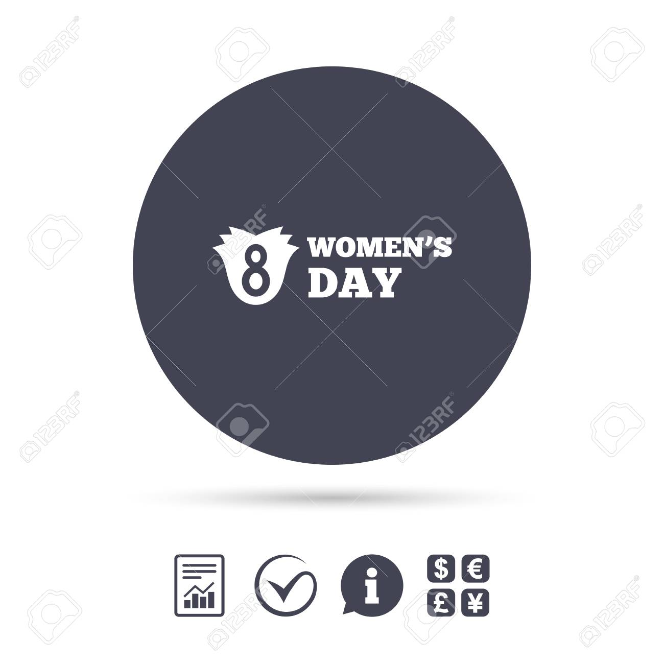 8 March Womens Day Sign Icon Flower Symbol Report Document