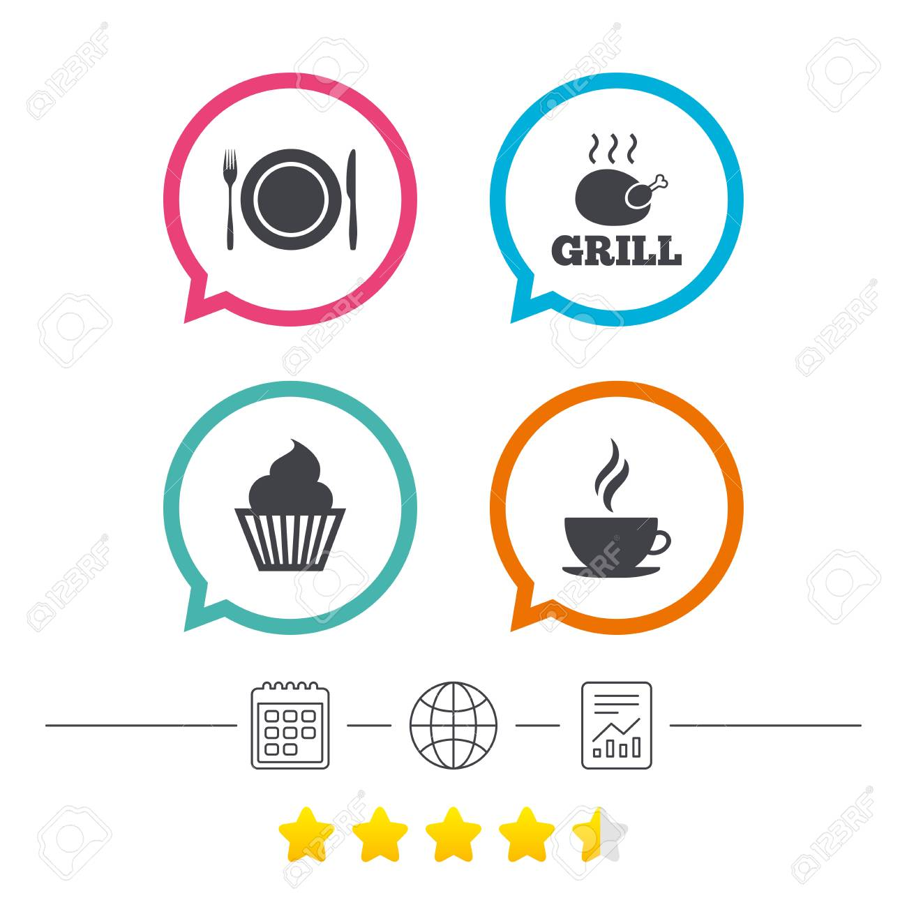 Food And Drink Icons Muffin Cupcake Symbol Plate Dish With