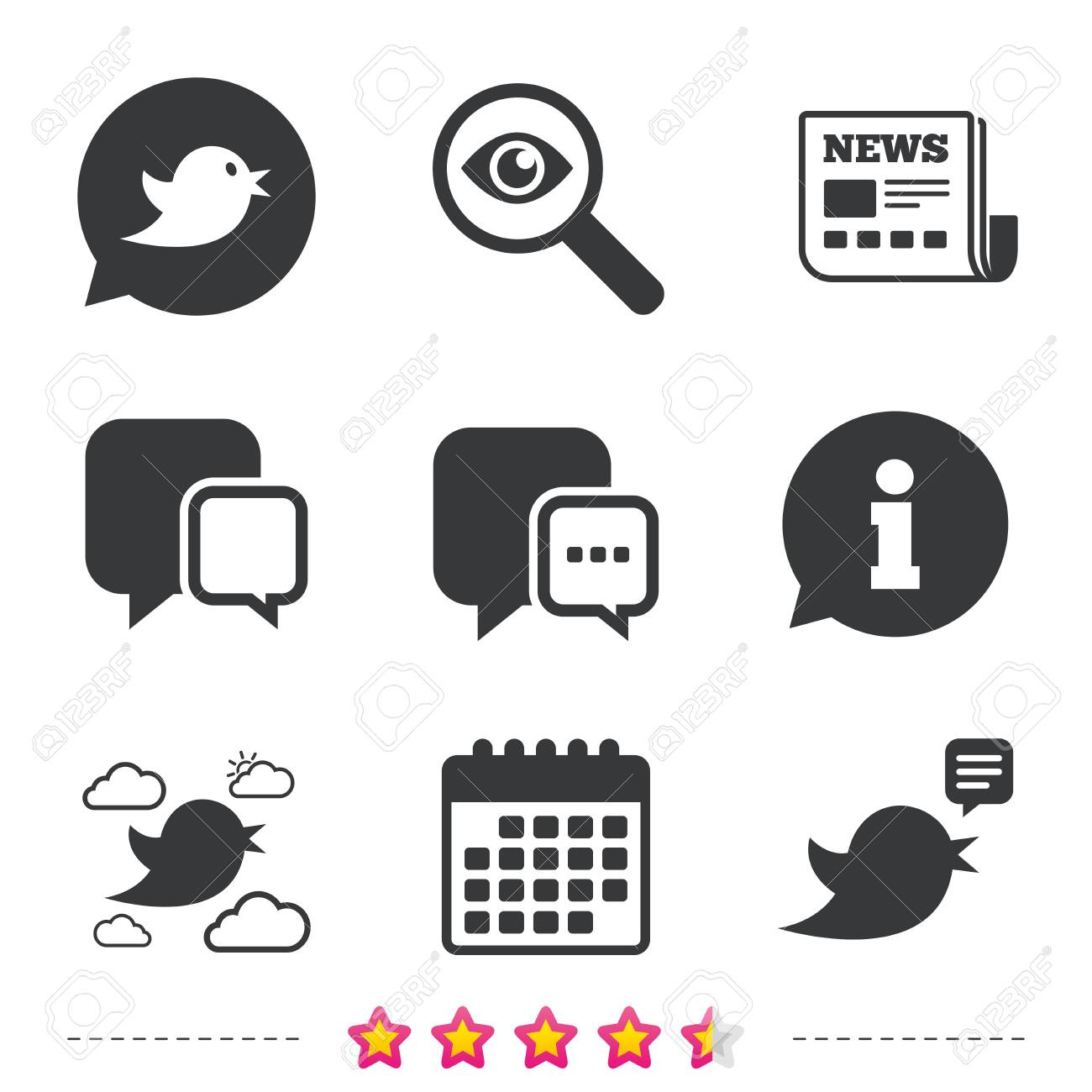 birds icons social media speech bubble chat bubble with three
