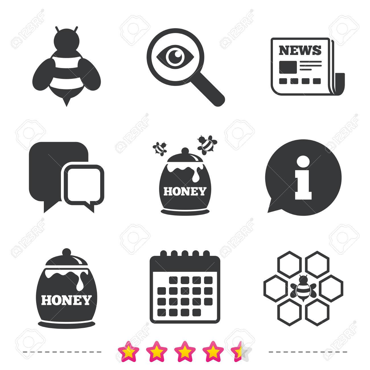 Honey icon. Honeycomb cells with bees symbol. Sweet natural food signs.  Newspaper,