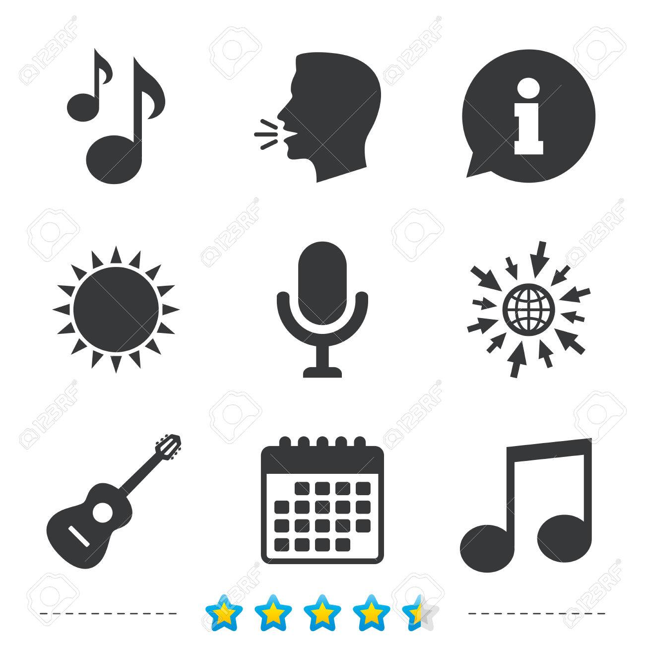 Music Icons Microphone Karaoke Symbol Music Notes And Acoustic