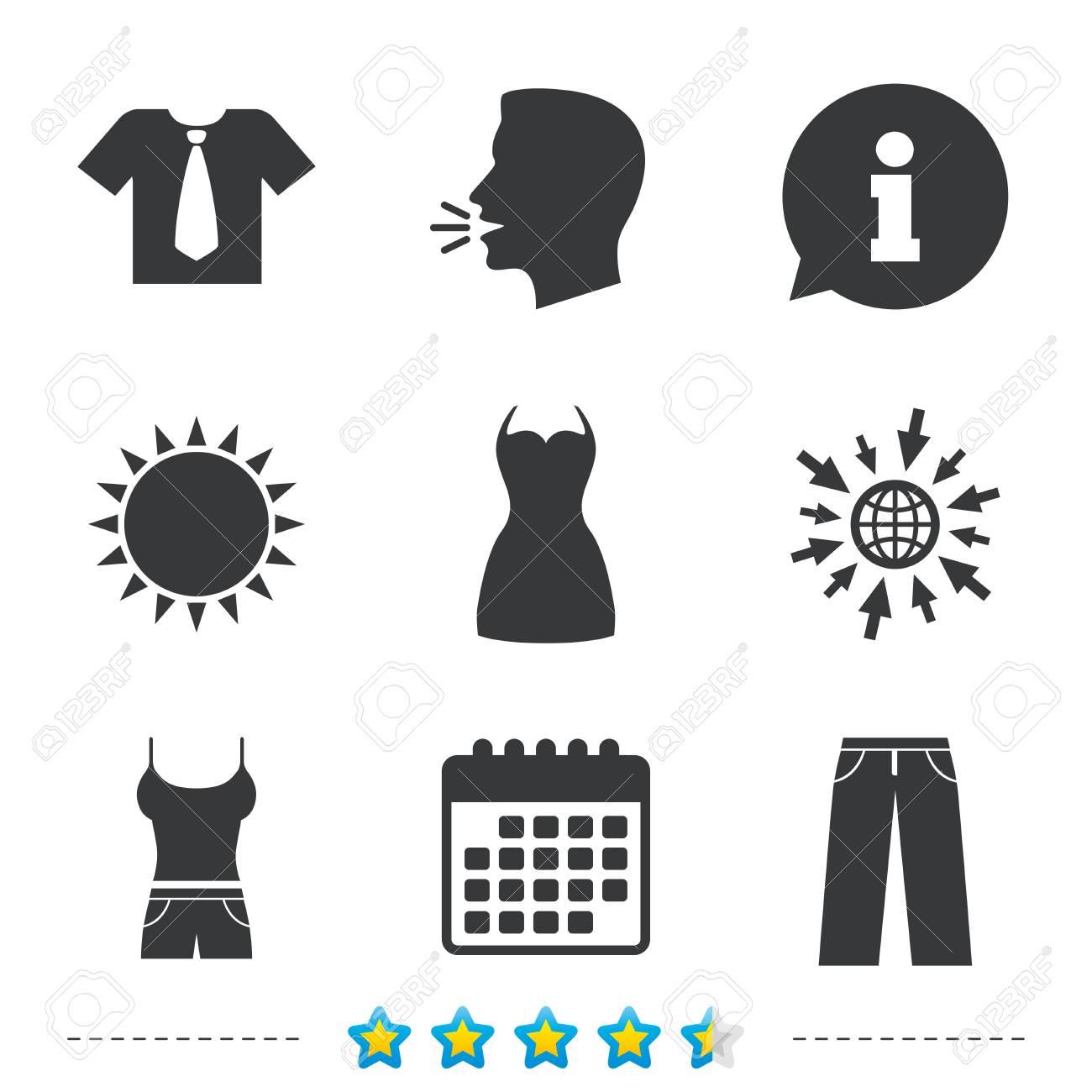 réel classé ramasser vente chaude en ligne Icônes de vêtements. T-shirt avec cravate et signes de pantalon. Symbole de  la robe des femmes. Informations, allez sur le Web et les icônes de ...
