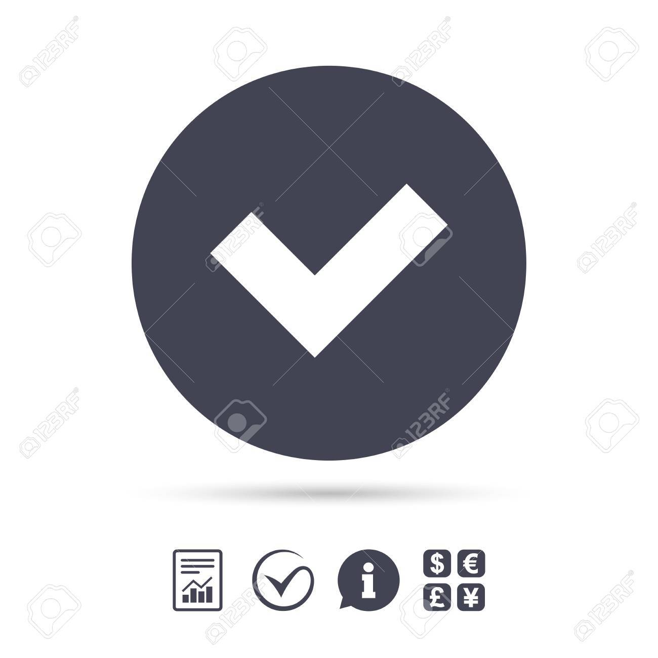 Check sign icon  Yes button  Report document, information and