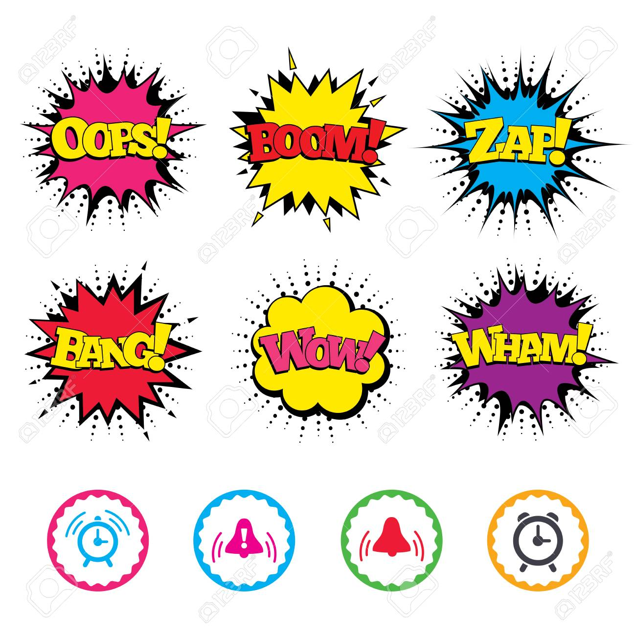 Comic Wow, Oops, Boom and Wham sound effects  Alarm clock icons