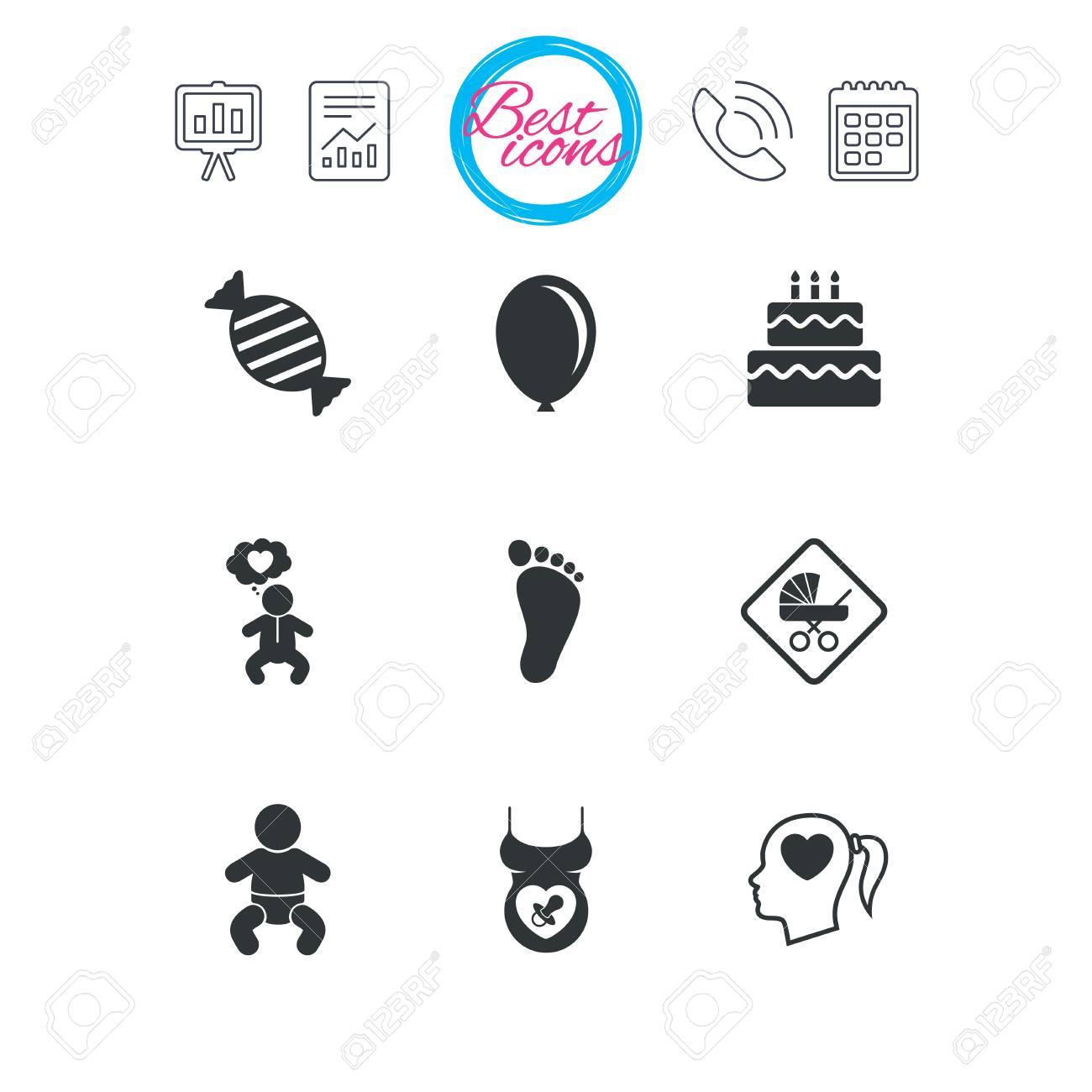 Calendario Maternita.Presentazione Report E Segni Di Calendario Icone Di Gravidanza Maternita E Cura Del Bambino Caramelle Passeggini E Segni Ciuccio Impronta Torta