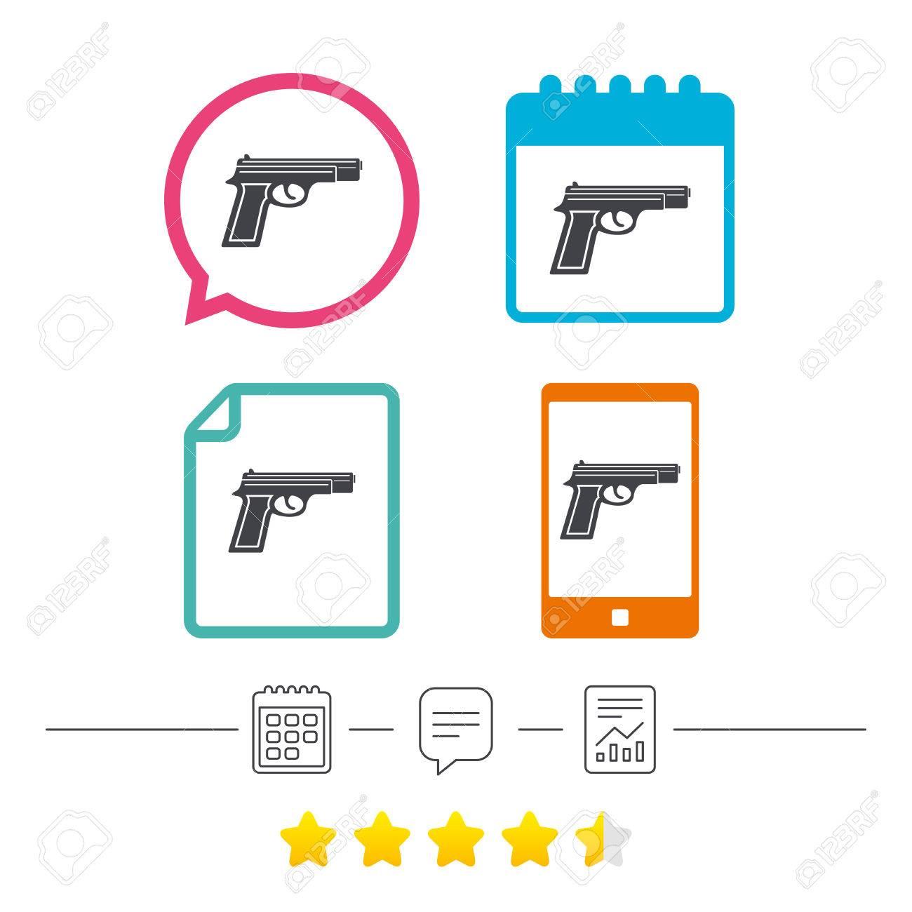 Gun sign icon firearms weapon symbol calendar chat speech gun sign icon firearms weapon symbol calendar chat speech bubble and report linear biocorpaavc