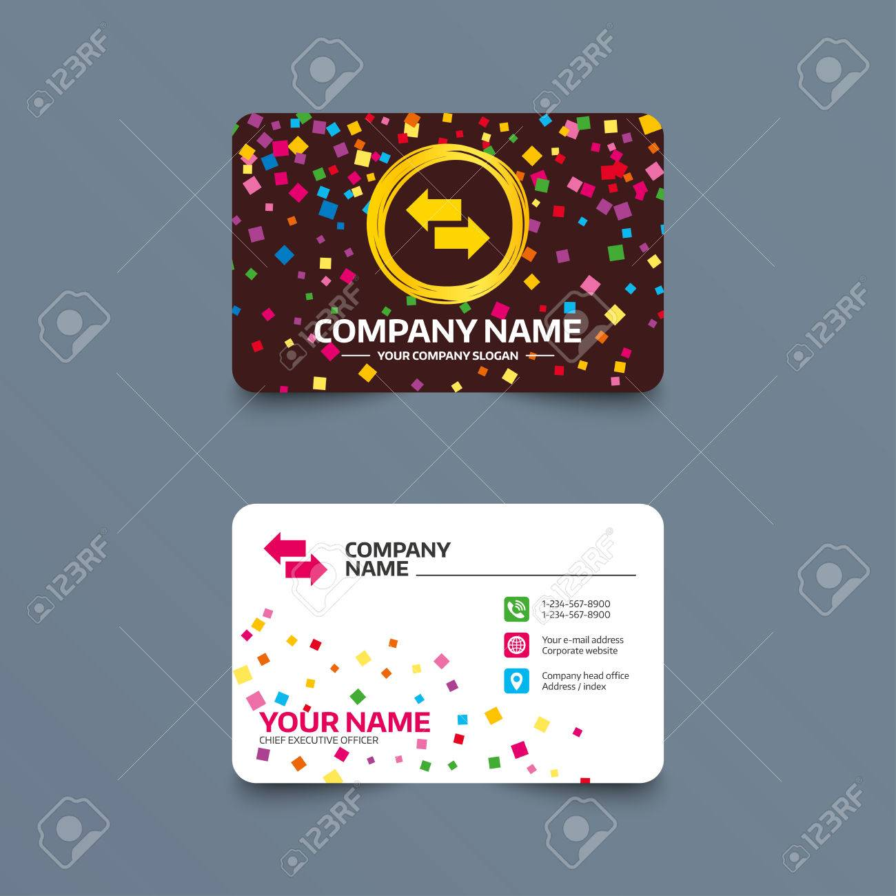 Business Card Template With Confetti Pieces. Incoming And Outgoing ...