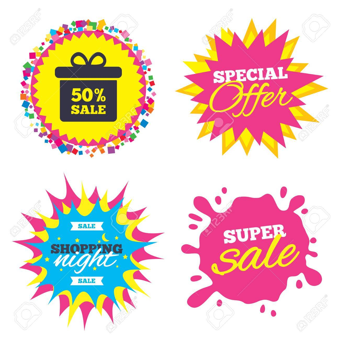 Sale Splash Banner Special Offer Star 50 Sale Gift Box Tag Royalty Free Cliparts Vectors And Stock Illustration Image 76311979