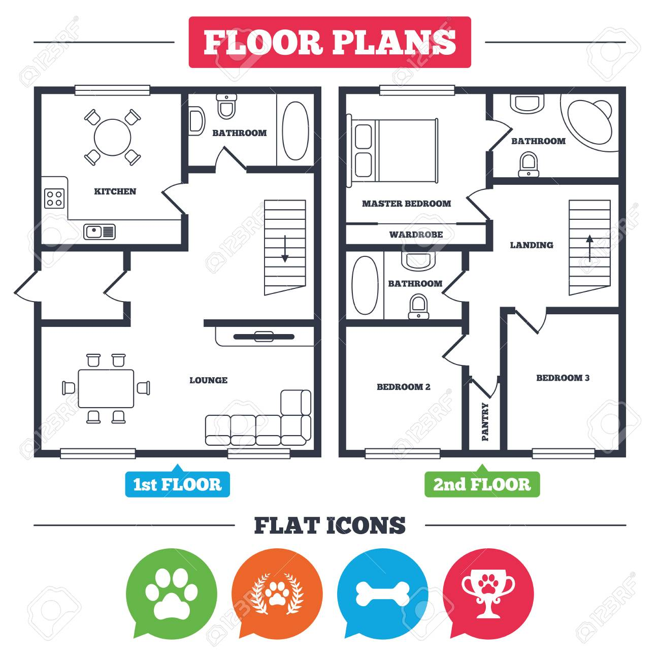 Architecture Plan With Furniture House Floor Plan Pets Icons