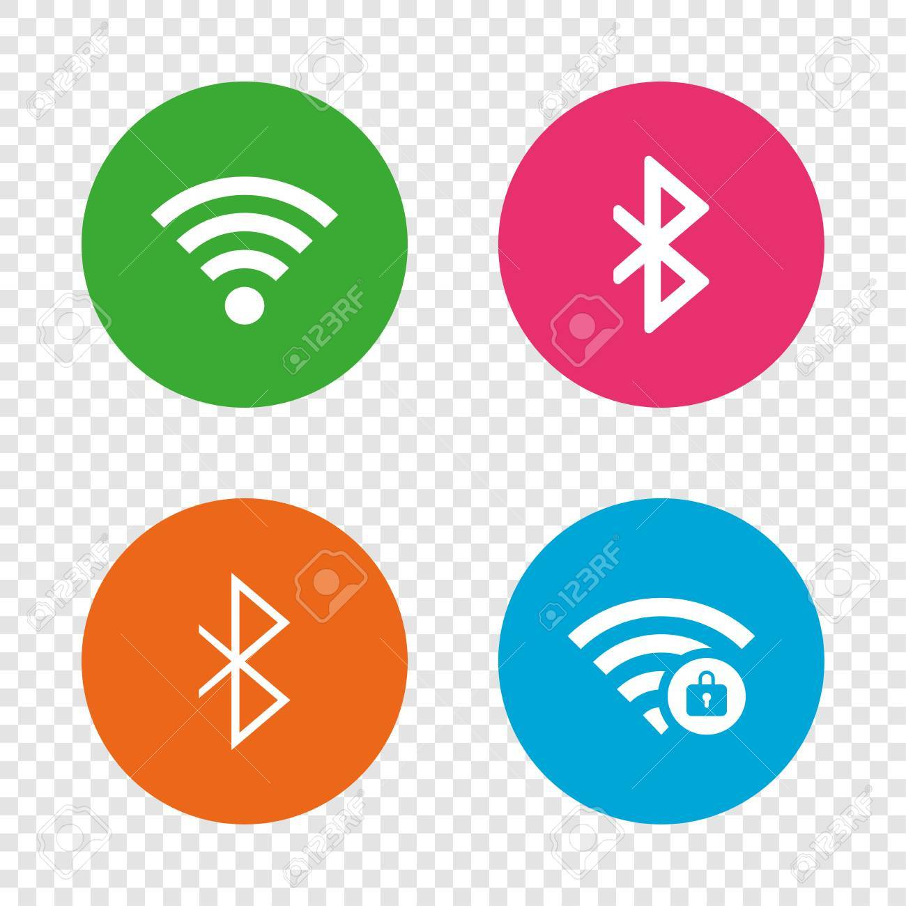 Wifi And Bluetooth Icons Wireless Mobile Network Symbols Password
