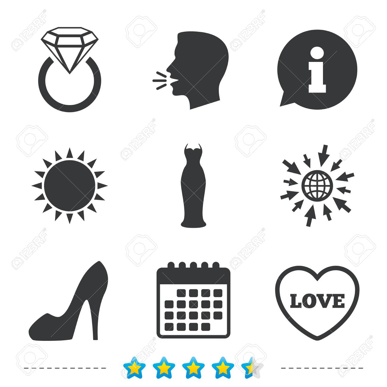 Wedding Slim Dress Icon Womens Shoe And Love Heart Symbols