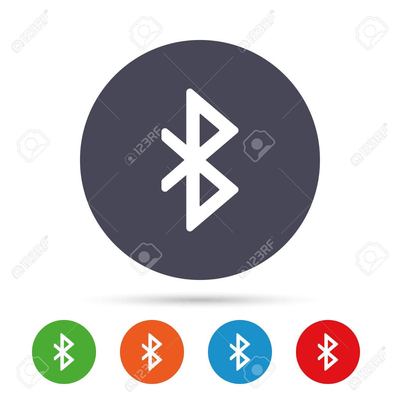 Bluetooth sign icon mobile network symbol data transfer round mobile network symbol data transfer round colourful buttons with flat biocorpaavc