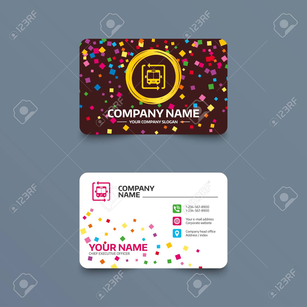 Business card template with confetti pieces bus shuttle icon business card template with confetti pieces bus shuttle icon public transport stop symbol wajeb Image collections