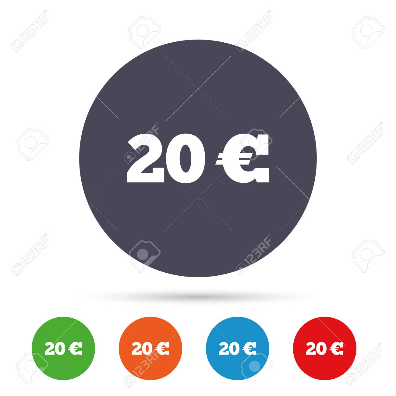 20 Euro Sign Icon Eur Currency Symbol Money Label Round Colourful