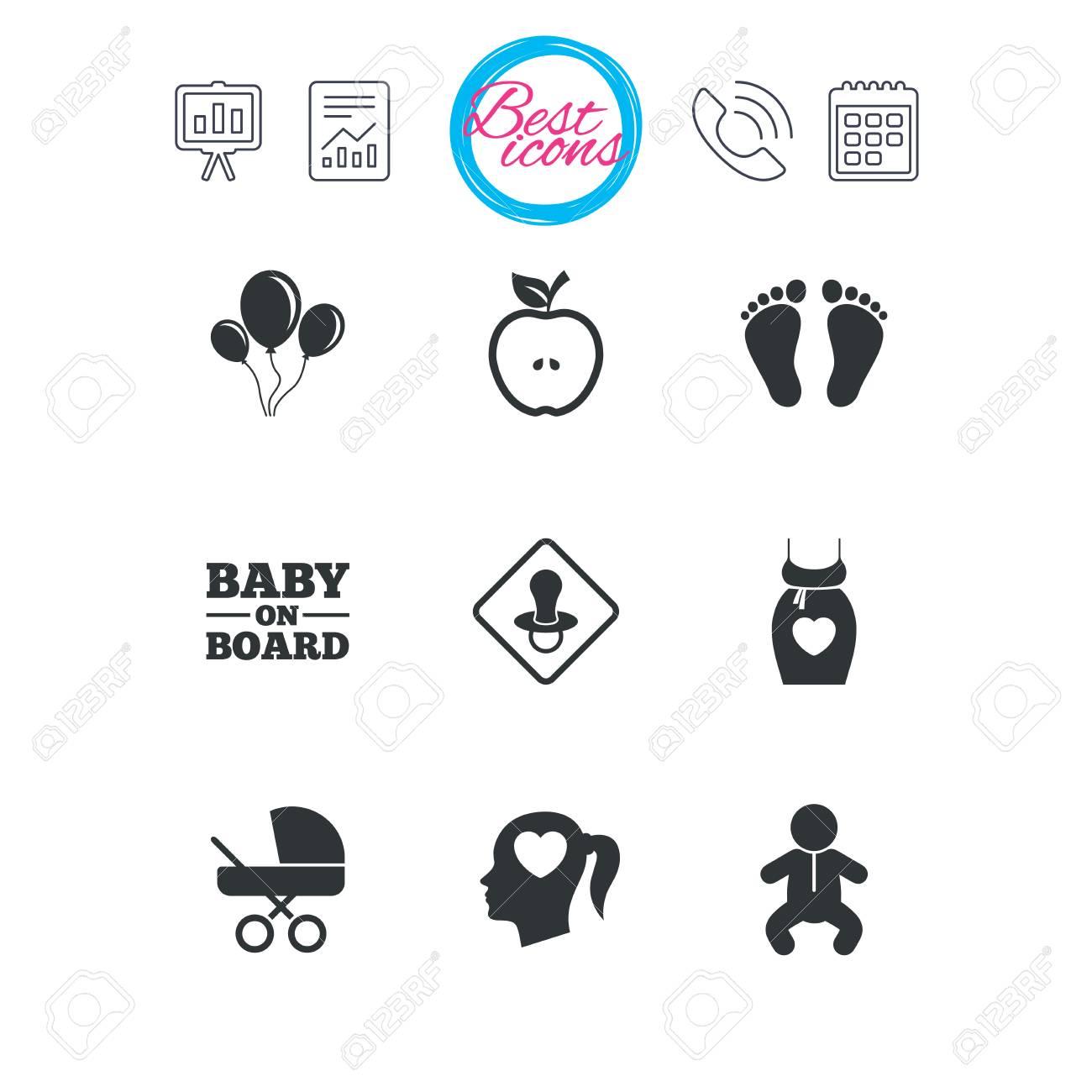 Calendario Maternita.Presentazione Report E Segni Di Calendario Icone Di Gravidanza Maternita E Cura Del Bambino Aerei In Mongolfiera Carrozzina E Ciuccio Impronta
