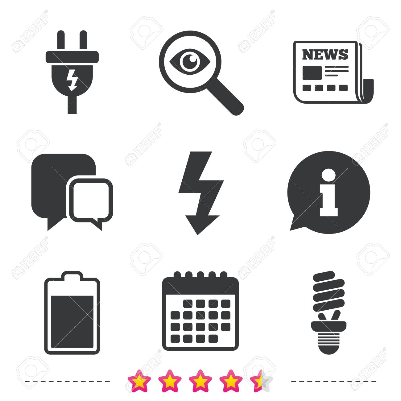 Electric Plug Icon. Fluorescent Lamp And Battery Symbols. Low ...