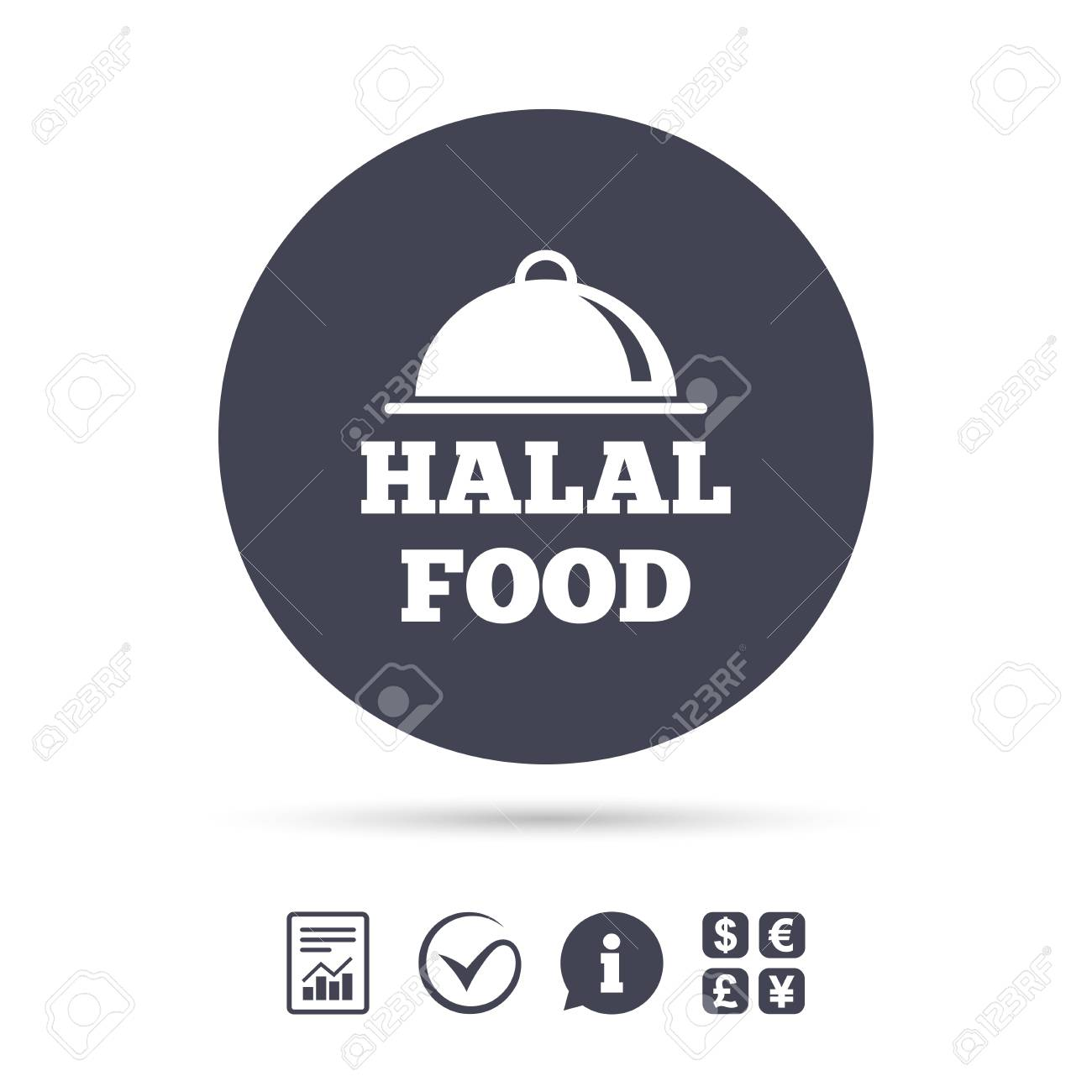 Halal Food Product Sign Icon Natural Muslims Food Symbol Report