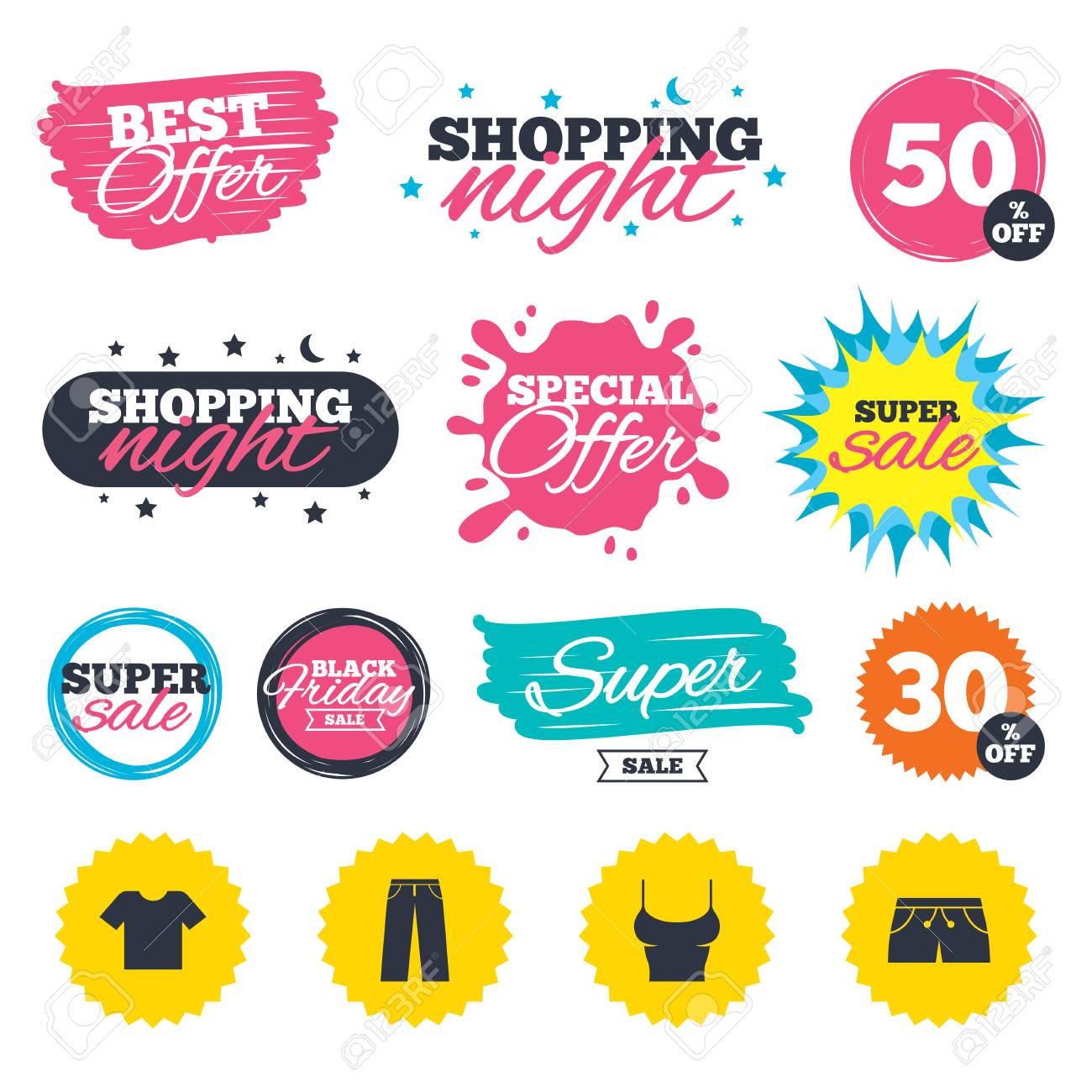 Sale shopping banners. Special offer splash. Clothes icons. T shirt..