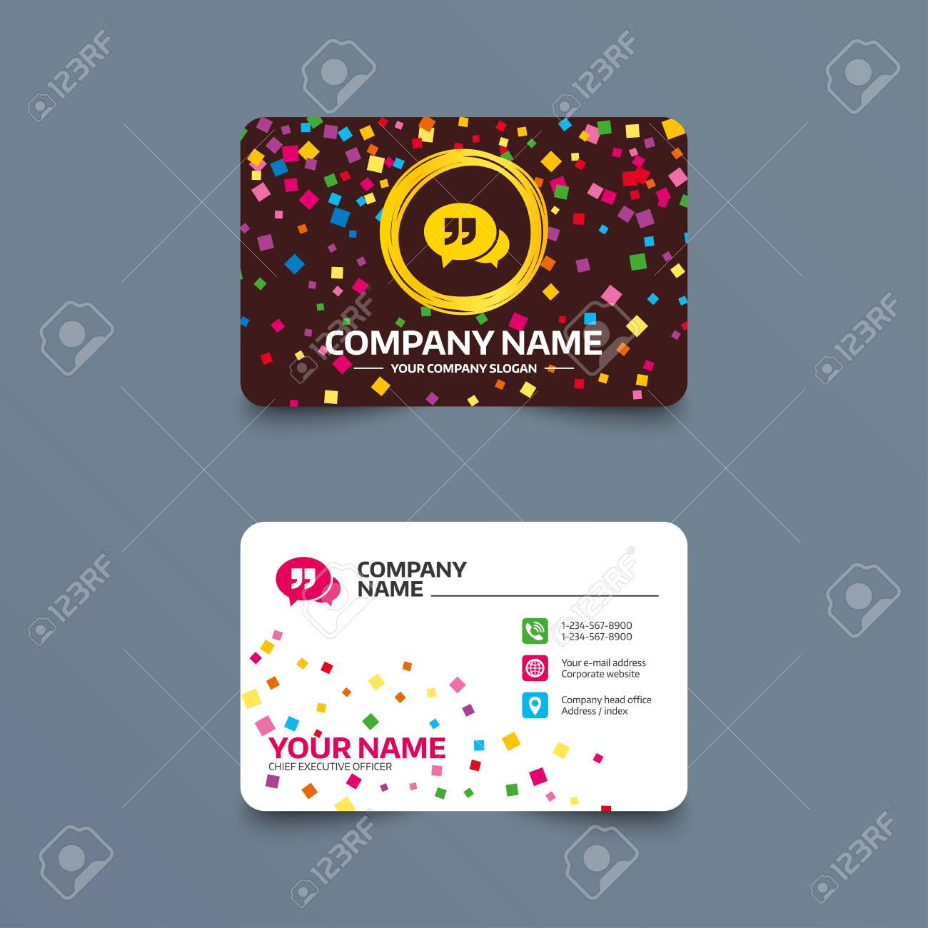 Business Card Template With Confetti Pieces. Chat Quote Sign ...