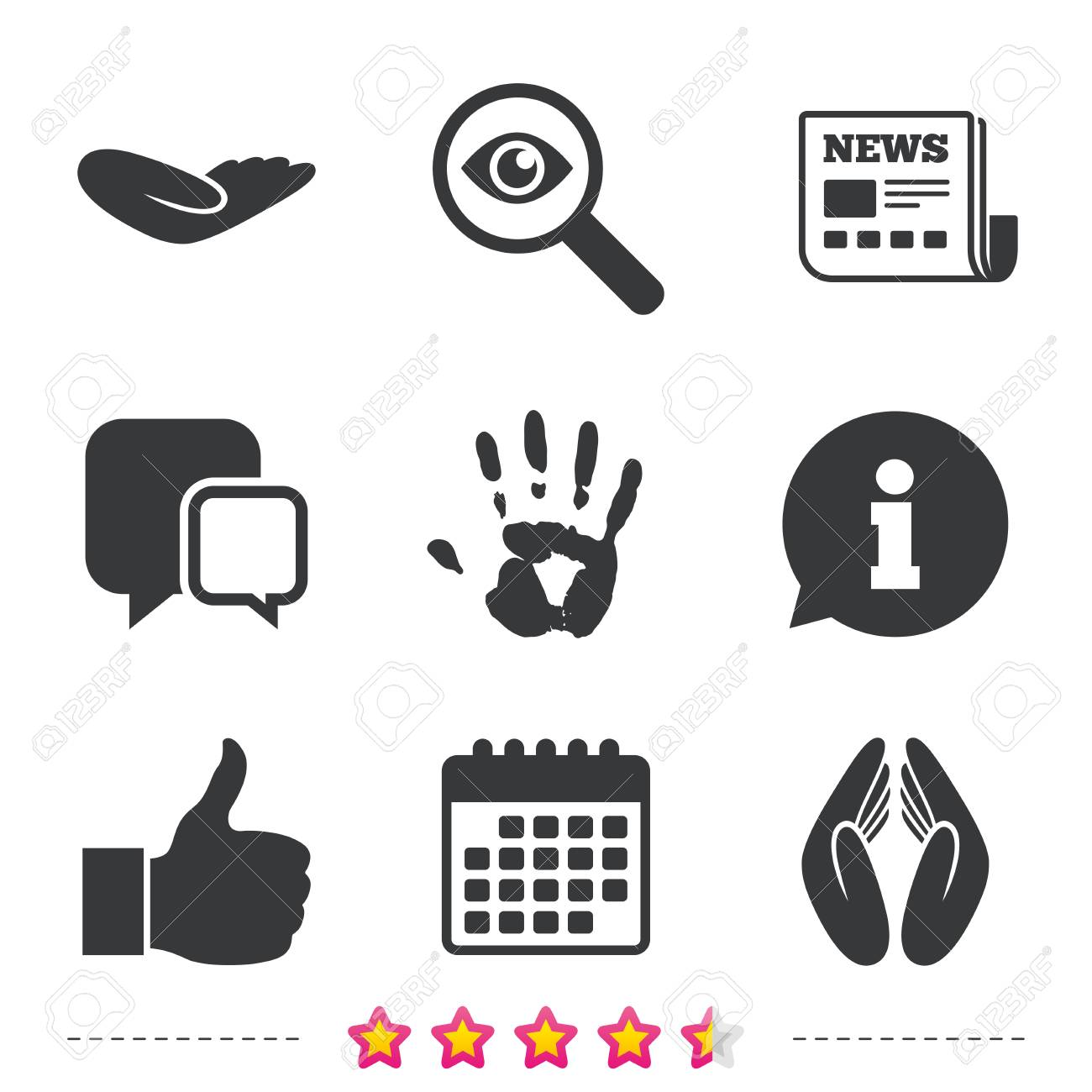 Hand Icons Like Thumb Up Symbol Insurance Protection Sign