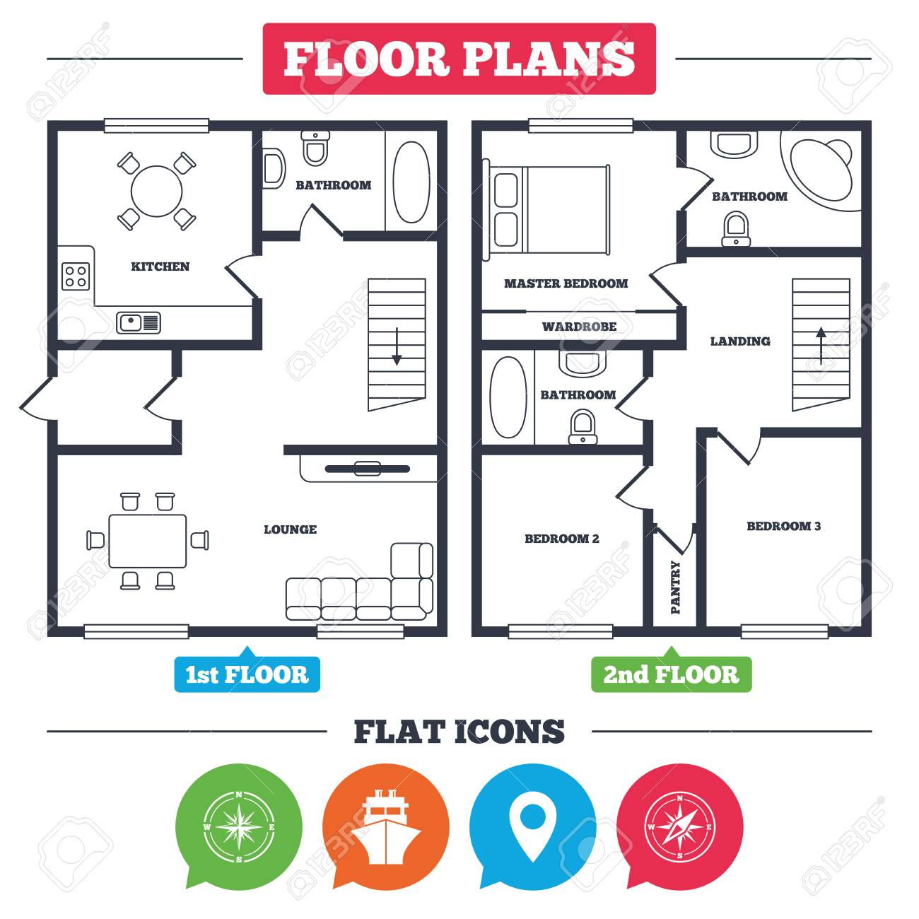 Architecture Plan With Furniture House Floor Plan Windrose Royalty Free Cliparts Vectors And Stock Illustration Image 77845806