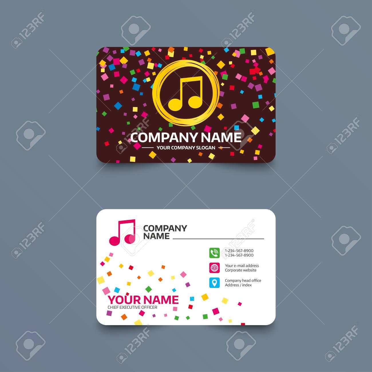 Visitenkarteschablone Mit Konfettistucken Musik Note Zeichen